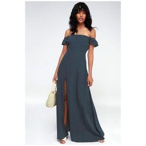 Long Navy Polka Dot Dress from Lulu's